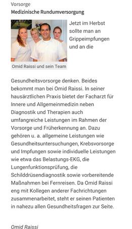 Facharzt Omid Raissi Presseartikel